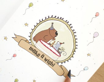 Birthday card Make a Wish Poss and Wom