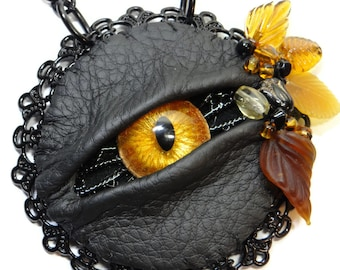 Evil Eye Gothic Beauty - LaGrand Sightmares Goldie Bronze and Gold Eye in Black Lacework Pendant Necklace by Dr Brassy Steampunk
