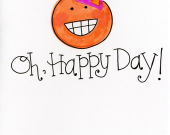 Oh, Happy Day card - A7 FREE SHIPPING