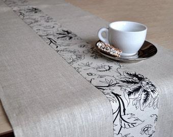 Linen Runner Natural Table Runner Tan Table Decor Gray / White With Print Table Runner Black print