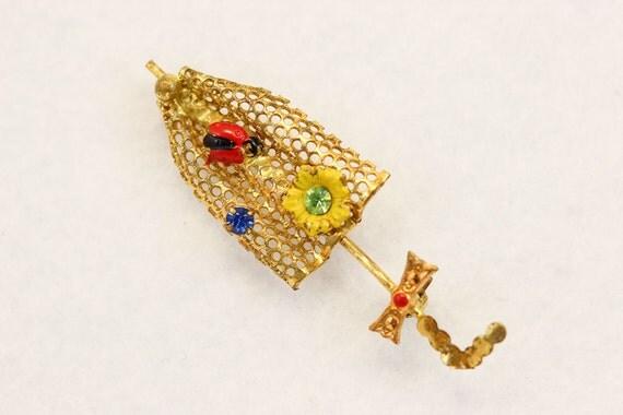 Umbrella Brooch with Lady Bug, Flowers, Bow and Rhinestone Parasol 2139