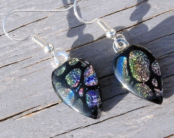 Dangle Earrings - Dichroic Glass Earrings, Fused Glass Jewelry, Fashion - Sterling Silver Wires - Black Multicolored (Item 30474-E)