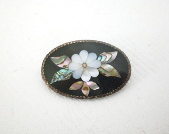 Vintage Mother of Pearl Brooch Pendant Flower Floral Alpaca Mexico Silver Plate GallivantsVintage