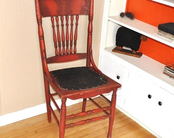 Antique Chair Red Spindled Ornate High Back Turn of the Century Accent Seating Leather Seat
