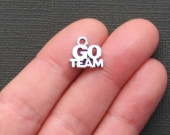 10 Go Team Charms Antique  Silver Tone - SC2198