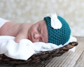 Turquoise hat with Bow....Newborn to Adult- Beanie-Winter hat- photography prop