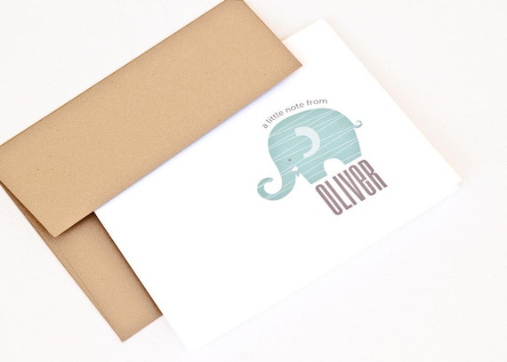 Children's Note Cards, Kid's Personalized Stationery, Baby Gift //Boxed Set of 12 // ELEPHANT