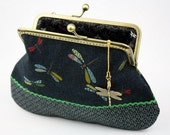 Clutch Purse - Dragonfly in the Floral Sea (Cotton Fabric with Metal Frame and Bag Belt)