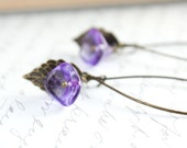 Purple Glass Earrings, Glass Bead Earrings, Violet, Mauve, Dangle, Long Earrings, Spring Jewellery, Brass Leaves, Floral drops