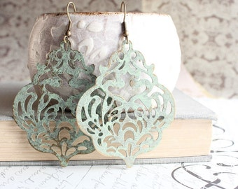 Large Filigree Earrings Light Sage Green Patina Earrings Big Lace Dangle Earrings Rustic Patina Jewelry Shabby Country Boho Chic Romantic
