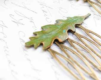 Leaf Hair Comb Medium Oak Leaf Verdigris Green Antique Gold Brass Rustic Woodland Wedding Hair Accessories Leaves Bridal Accessories