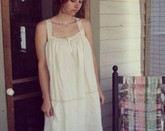 Victorian inspired organic cotton nightgown with crocheted lace detailin- custom made to measure