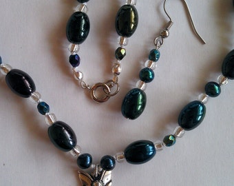 Ceramic, Pearl and Crystal Necklace and Earrings