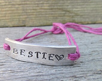 Friendship Bracelet NAME Hand Stamped Tie On Hemp Cord Couples BFF Best Friends Gift Can Be Personalized Made To Order