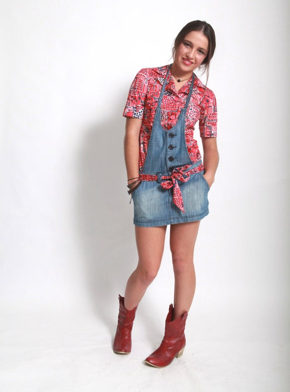 Vintage red French blouse & denim halter mini dress re-invented combo