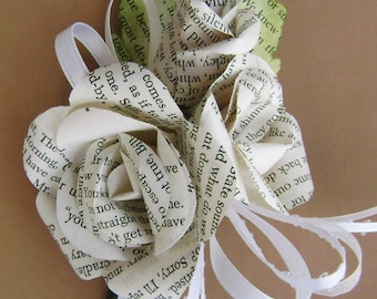 bridal party corsage made from vintage book page roses and buds
