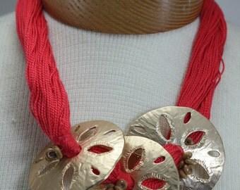 Vintage Beach Summer Sand Dollar Statement Necklace
