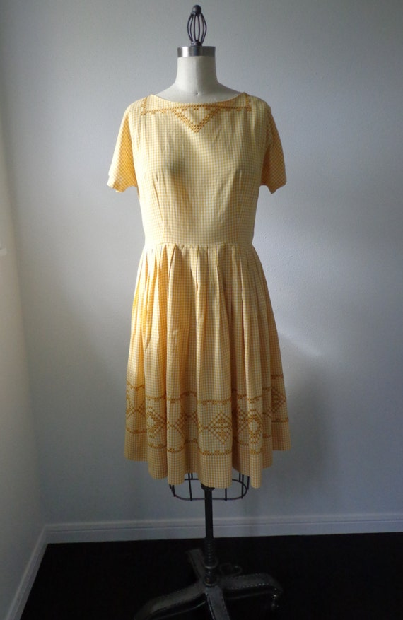 Vintage Dress 1950's 1960's Home Sewn Mustard Gingham Plaid with Hand Embroidered Cross Stitch