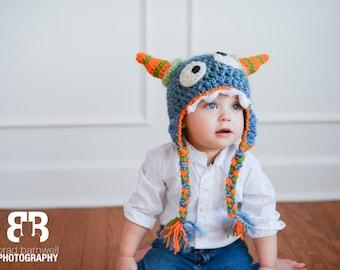 Monster Hat - Morty Monster Hat - Baby Monster Hat - Blue Baby Monster - Halloween Costume - Baby Hat - by JoJo's Bootique