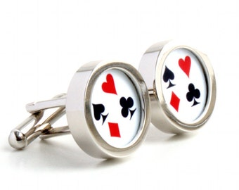 Poker Cufflinks with Hearts, Clubs, Diamonds and Spades