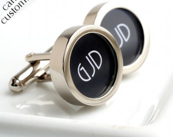 Three Initial Monogrammed Cufflinks Personalized Colour and Font PC433