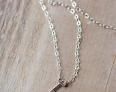Tiny Key Necklace - Sterling Silver - Mini Key Necklace - Layering Necklace - Everyday Necklace