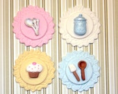 Fondant cupcake toppers Vintage Cupcake Baking Party