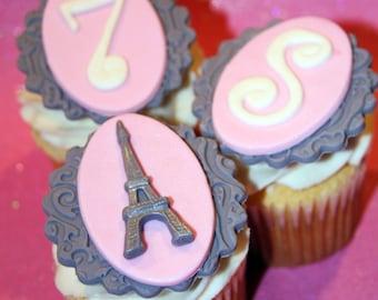 Fondant cupcake toppers Paris theme party Eiffel Tower