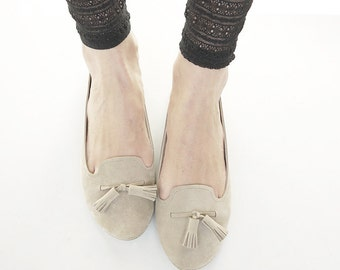 The Monochrome Loafers Shoes - Handmade Sand Soft Suede Loafers