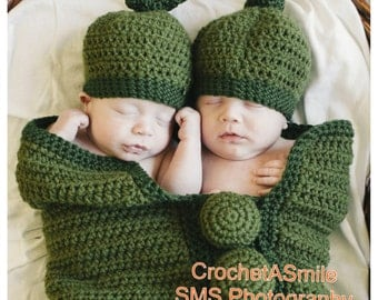 Custom Made * Crochet * TWINS Pea Pod Cocoon * with TWO Matching Hats * Photo Prop * Boy Girl Neutral * Customize + Personalize