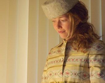 Vintage Pillbox Hat, Gray Fuzzy Fur Angora Wool Hat