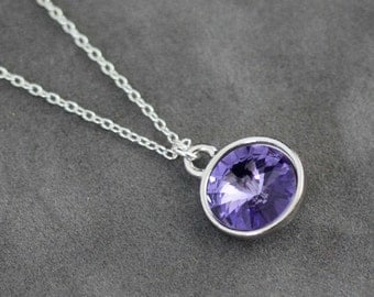 Tanzanite Necklace, December Birthstone Jewelry, December Tanzanite Birthstone Necklace, Silver Crystal Tanzanite Jewelry