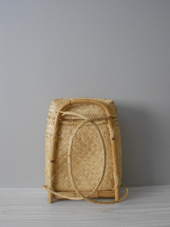 Wicker Basket Backpack : Picnic woven basket backpack wicker straw container