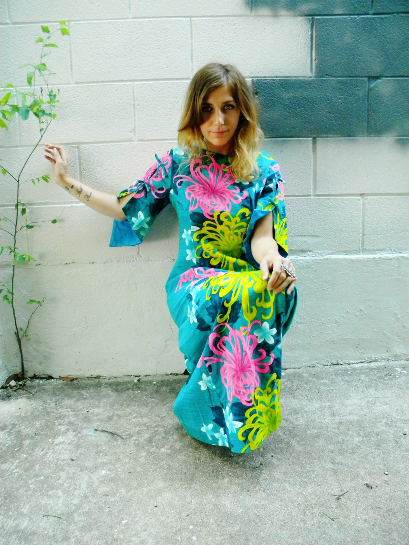 Hawaiian Bohemian Tropical Neon Maxi Dress Bell Sleeve