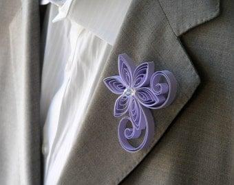Tanzanite Boutonniere, Pale Purple Buttonhole, Easter Wedding Boutonniere, Flowers for Suits, Faux Flower Boutonniere