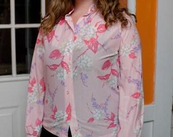 "hydrangea and cherry blossom """" semi sheer blouse"
