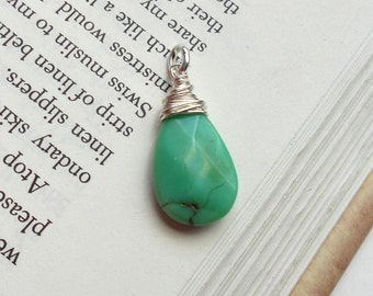 LARGE GREEN CHRYSOPRASE Gemstone Pendant  - Emerald to Apple Green Chrysoprase with Sterling Silver