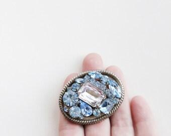 Vintage 50's Baby Blue Crystal Rhinestone Brooch