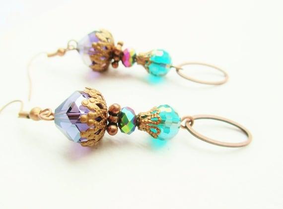 Teal & Purple Crystal Layered Copper Bohemian Gypsy Earrings