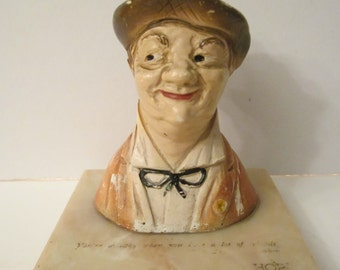 The Gay Philosopher Chalkware Paperweight - Henry Major - 40s Advertising