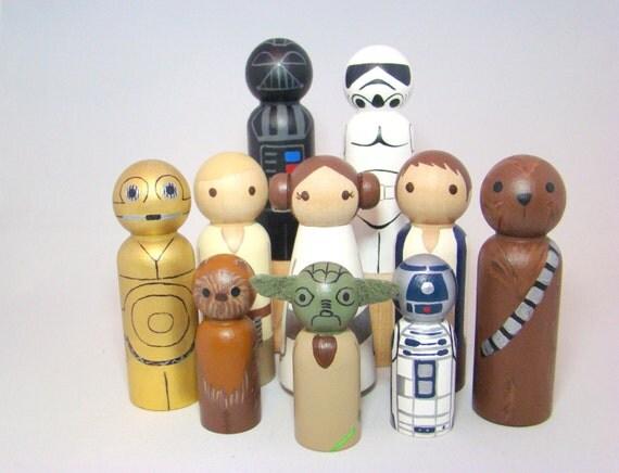 The Rebel Galactic Gang - Hand Painted Wood Star Wars (R) Play Pegs