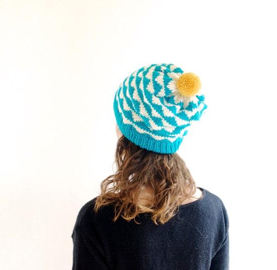Knitted Beanie Ski Hat w/ Geometric Triangles & Pom Pom - Teal, Cream, Mustard