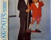McCalls 5989 Boy's 70s Suit Jacket Pants Shorts Sewing Pattern Size 8 Chest 27