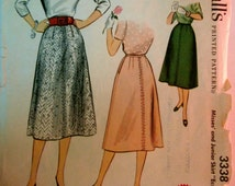 McCalls 3338 Womens 50s Skirt Sewing Pattern Waist 28