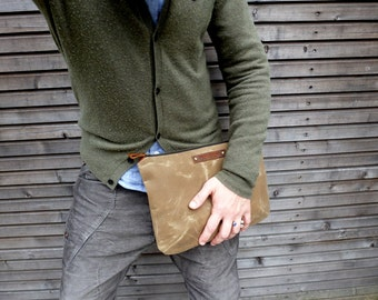 Waxed canvas large pouch  bag organizer