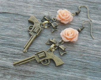 Guns n Roses Earrings - SILVER or BRASS - CHOOSE Your Rose Color - Guns and Roses Bows Punk Rock n Roll Rocker Rock and Roll Heavy Metal