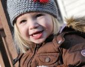 Crochet Girls Hat - Baby Hat - Newborn Hat - Winter Hat - Toddler Hat - Light Gray (Grey) with Red Flower - in sizes Newborn to 3 Years