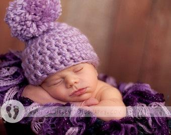 Pom Pom newborn beanie photo prop crochet single pom pom