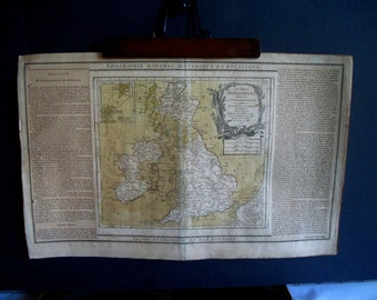 Antique French 18th Century Map/ Etching Political Map of Great Britain/England/Scotland/Ireland/Wales