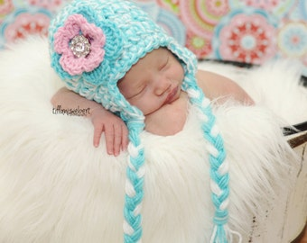 The Karlee Beanie in Teal, White, and Baby Pink Available in Newborn to Adult Size MADE TO ORDER